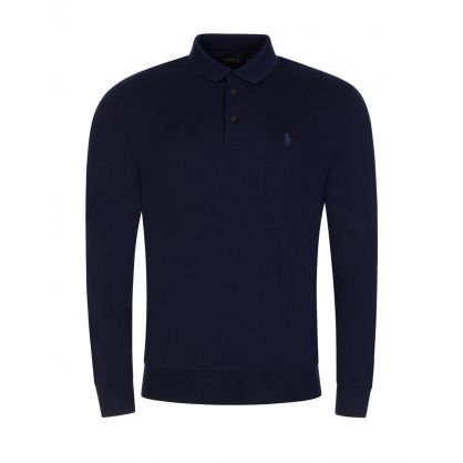Navy Merino Wool Knit Polo