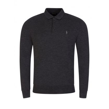 Grey Merino Wool Knit Polo