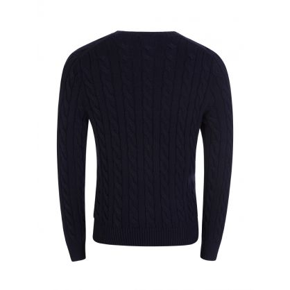 Navy Cable-Knit Cotton Jumper