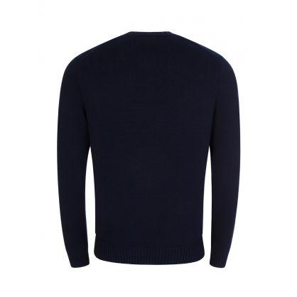 Navy Chunky Cotton Knit Jumper