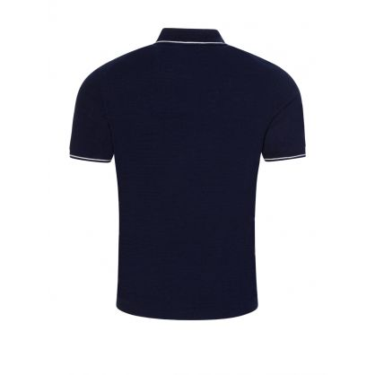 Navy Cotton-Linen  Knitted Polo
