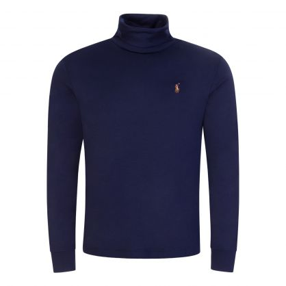 Navy Knit Turtle Neck Pullover