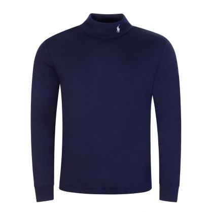 Navy Long-Sleeve Knit Round Collar Pullover