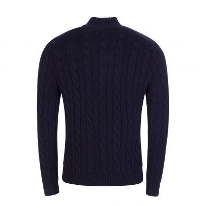 Navy Cable-Knit Cotton Quarter-Zip Jumper