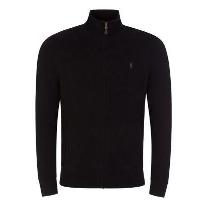 Black Knitted Zip-Through Jumper