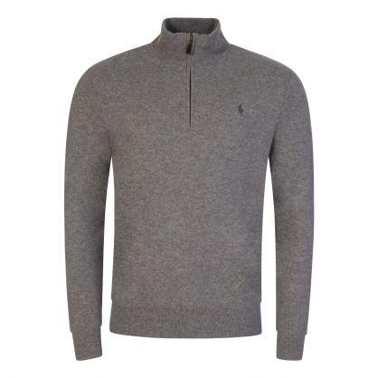 Grey Wool 1/4 Zip Jumper