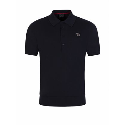 Navy Knitted Zebra Badge Polo Shirt