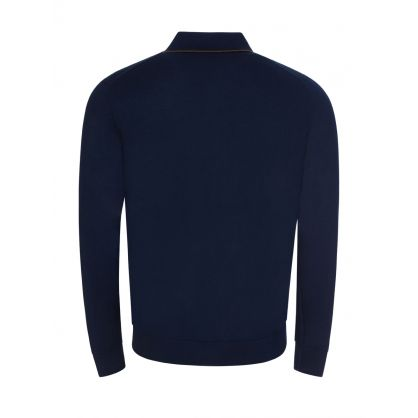 Navy Long-Sleeve Tipped Collar Polo Shirt