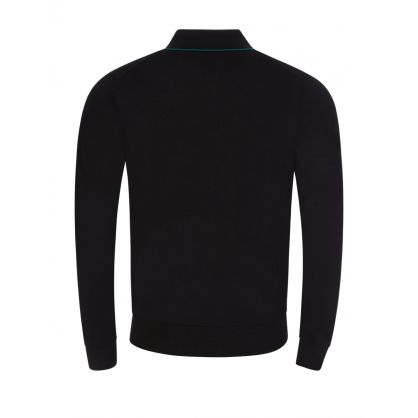 Black Tipped Knitted Long-Sleeve Polo Shirt