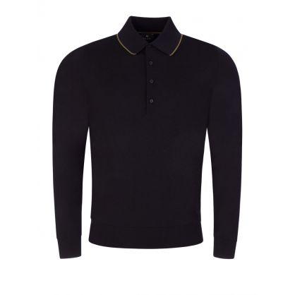 Navy Merino Knit Polo Shirt
