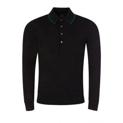 Black Merino Knit Polo Shirt
