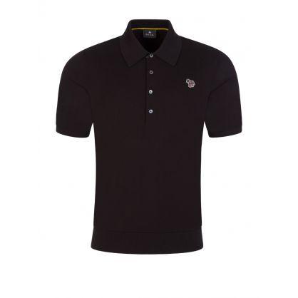 Black Knit Zebra Polo Shirt