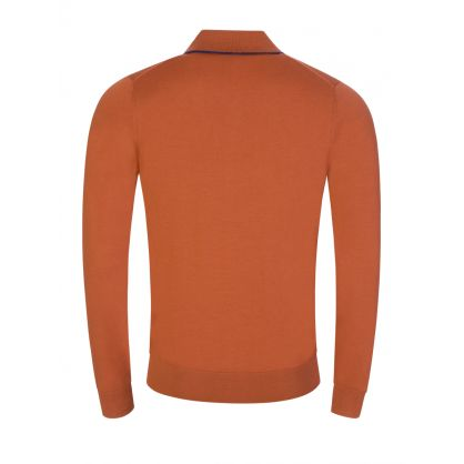 Orange Merino Knit Polo Shirt