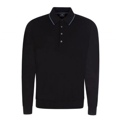 Black Merino Wool Long-Sleeve Knitted Polo Shirt