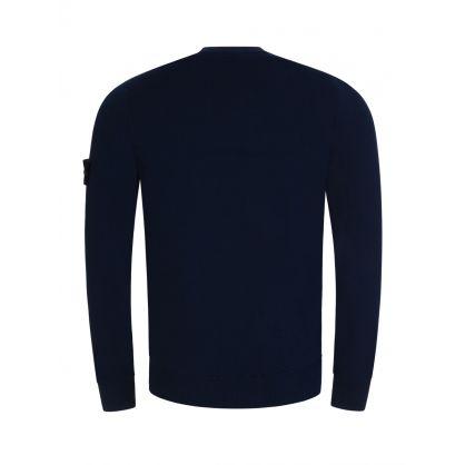 Blue Cotton Fine Knitted Jumper