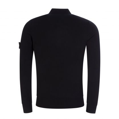 Jet Black Long-Sleeve Knitted Polo Shirt