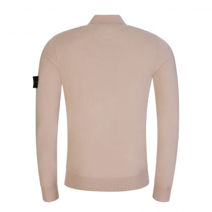 Beige Long-Sleeve Knitted Polo Shirt