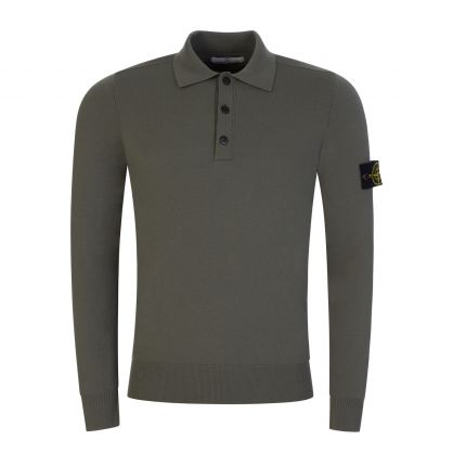 Green Long-Sleeve Knitted Polo Shirt