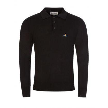 Black Polo Fine Knit Jumper