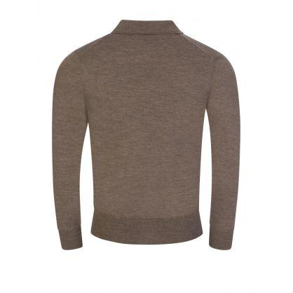 Brown Fine Knit Polo Jumper