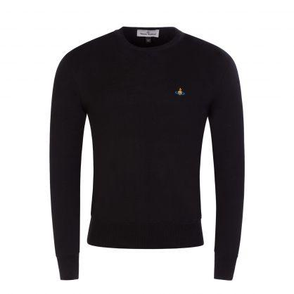 Black Merino Wool Round Neck Jumper