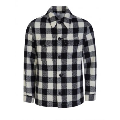 AMI White/Black Check Wool Buttoned Jacket