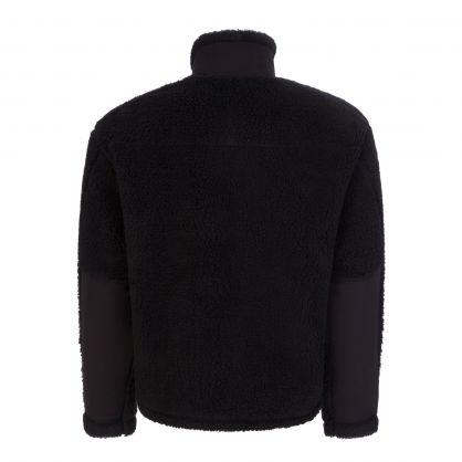 Black Panelled Fleece Zip-Up Jacket