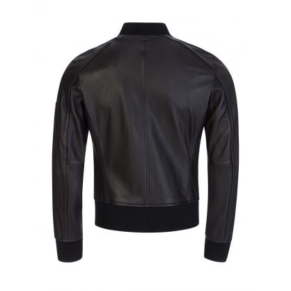 Black Bomber-Style Naitro Leather Jacket