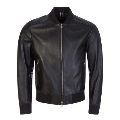 Black Nalban Leather Bomber Jacket