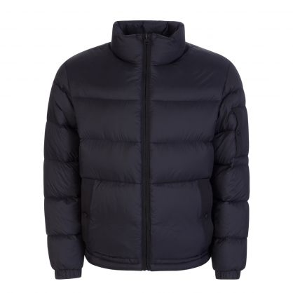 Black Recycled Fabric Manifesto-Logo Quilted Down Jacket