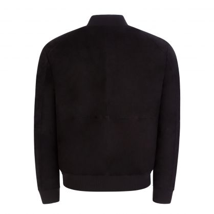 Black Slim-Fit Liku Suede Bomber Jacket