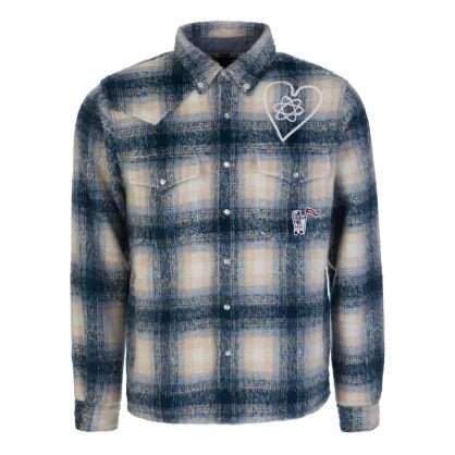 Blue Brushed Check Overshirt
