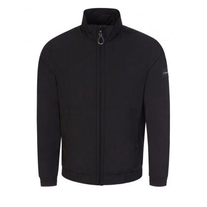 Black Crinkle Nylon Zip-Up Jacket