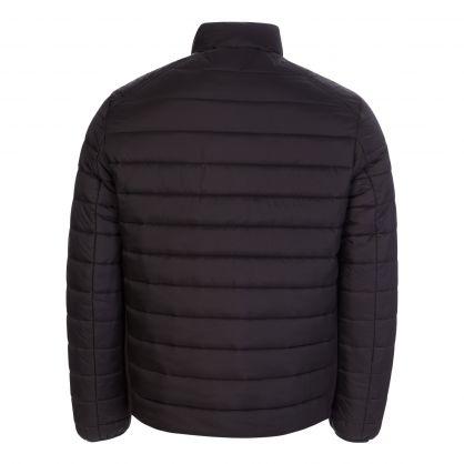Black Lightweight Side Logo Puffer Jacket