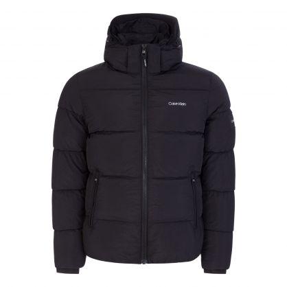 Black Crinkle Nylon Hooded Puffer Jacket