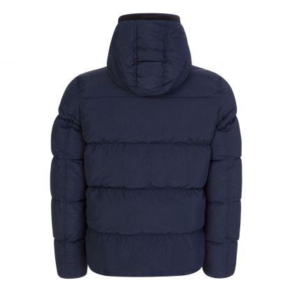 Navy Crinkle Nylon Hooded Puffer Jacket