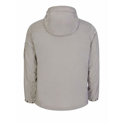 Grey 1/4-Length Zip Hooded Overshirt