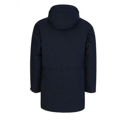 Navy Micro M Hooded Down Coat