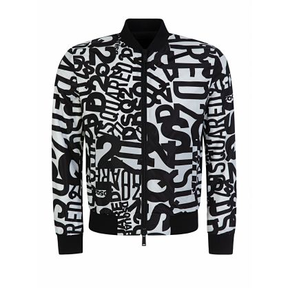 White All-Over Logo Bomber Jacket