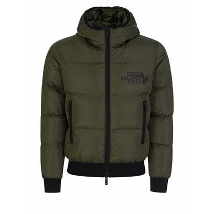 Green Hooded Shell Down Jacket
