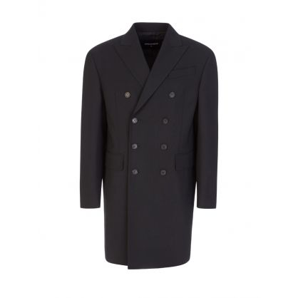 Black Worsted Stretch Wool DB 80's Coat