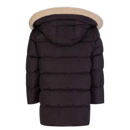 Black Shearling Trim Padded Duffle Coat