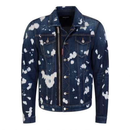 Blue Paint Splashed Denim Jacket