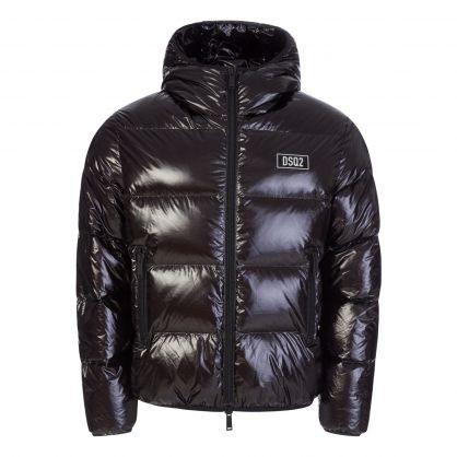 Black High Shine Shell Down Jacket