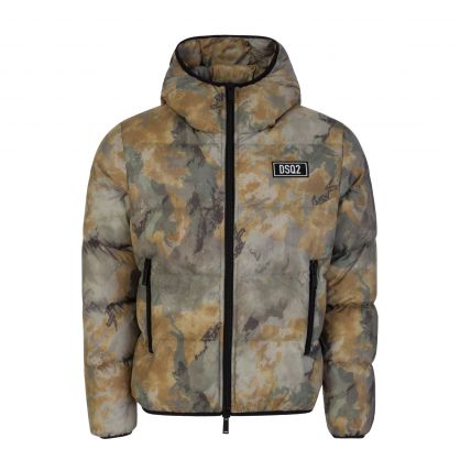 Green Camouflage-Print Down Jacket