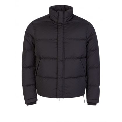 Black Multi-Logo Eagle Puffer Jacket