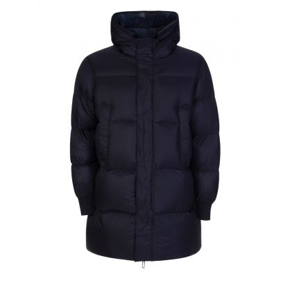 Navy Reversible Long Puffer Coat