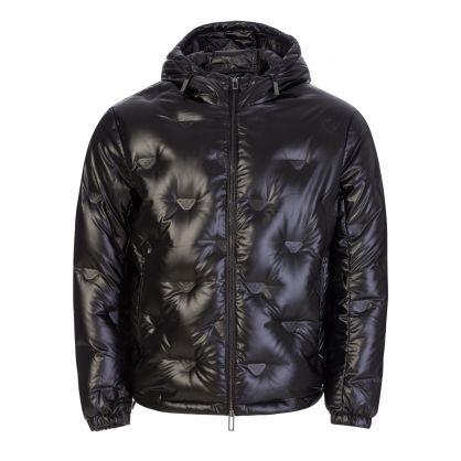 Black Shiny Polyester Monogram Jacket