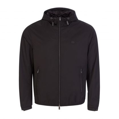Black Logo Micro Twill Jacket