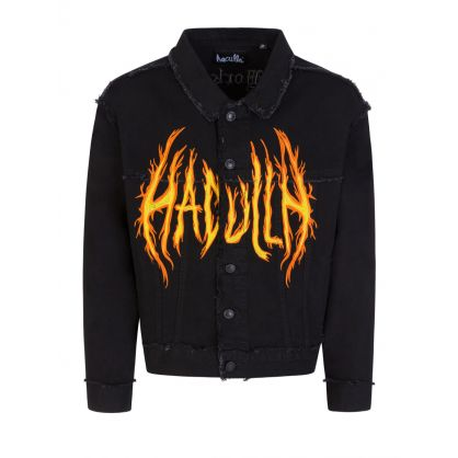 "Black ""Hac On Fire"" Denim Jacket"